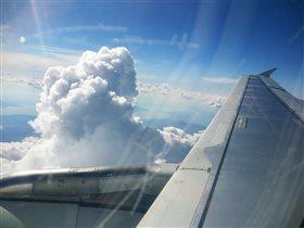 Из самолёта.