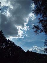 Облако и летящий очень далеко самолет.