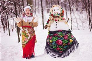 Веселые зимние забавы.... С рукотворной подругой