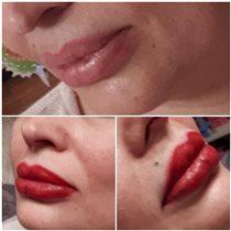Перманентный макияж губ,техника полного заполнения