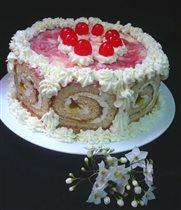 клубнично-сливочный тортик