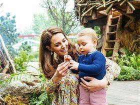 Принц Уильям и Кейт c детьми на прогулке: первые шаги годовалого принца Луи