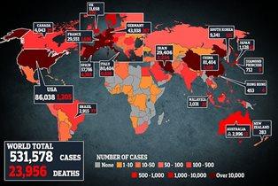 Корнавирус число заболевших мир